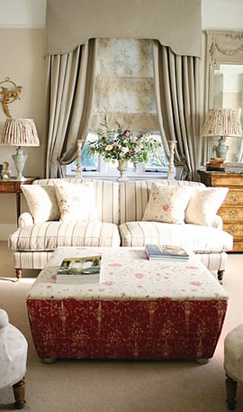 Curtains, cushions and interior design soft furnishings from the Kate Forman French floral collection