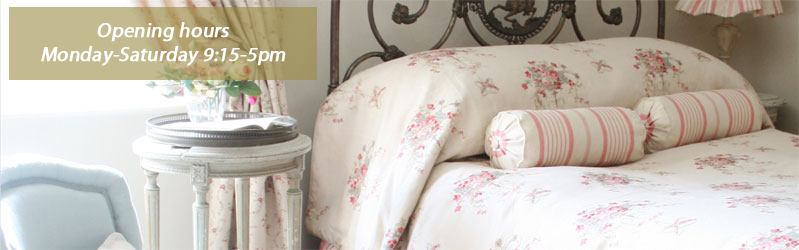 Curtains, bedspread, cushions and soft furnishings from the Kate Forman French floral collection