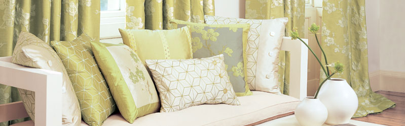 Made to measure curtains and cushions from the Villa Nova Yoshino collection