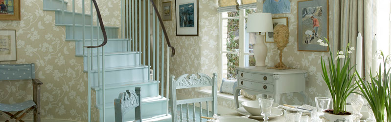 Wallpaper, curtain and blind fabrics from teh Vanessa Arbuthnott collections